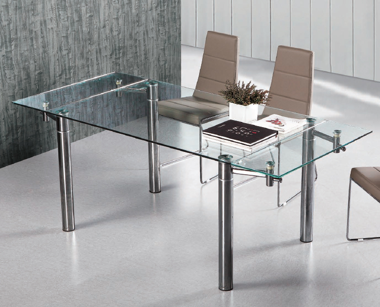 Mesa comedor extensible metal cromado tablero cristal for Mesas de cristal extensibles para comedor