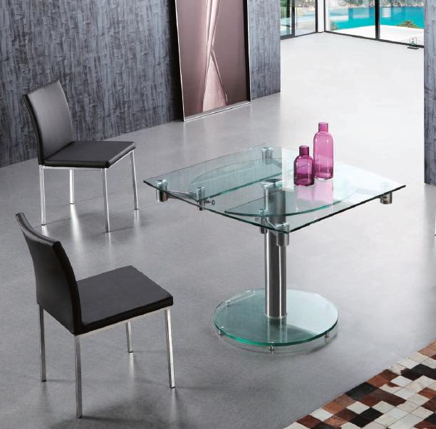 Mesa comedor cuadrada extensible tablero cristal for Mesa redonda cristal extensible