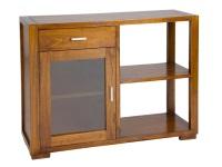Mesa auxiliar con estante - Mueble auxiliar con estante color nogal