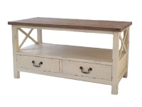Mesa de centro de madera vintage - Mesa de centro vintage con cajones