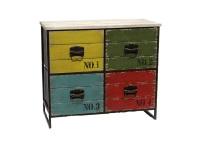 Mueble bajo vintage - Mueble vintage de madera con 4 cajones de colores