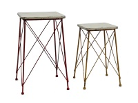 Juego de 2 pedestales vintage - Juego de dos pedestales vintage met�licos