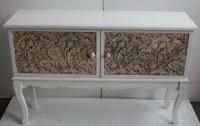 Mueble de madera con 2 puertas blanco - Mueble bajo con dos puertas blanco