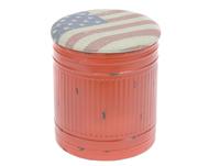 Puff metalico rojo con tapa USA - Puff metalico rojo con tapa USA fabricado en metal