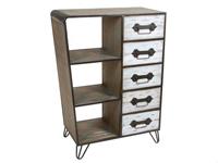 Mueble con estantes y cajones -  Mueble con estantes y cajones fabricado en madera de abeto y metal
