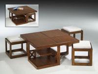 Juego mesa + 3 taburetes madera Colonial