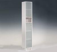 Estanter�a alta para ba�o con puertas de cristal - Mueble de ba�o estanter�a con puertas de cristal