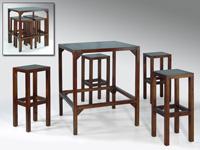 Juego de mesa con 4 taburetes de madera - Juego comedor de mesa y 4 taburetes de madera