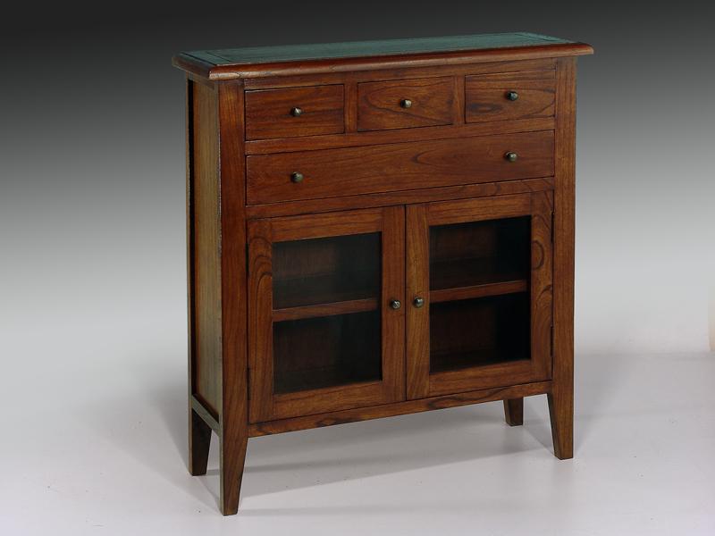 Consola madera 4 cajones 2 puertas colecci n colonial for Muebles teca colonial