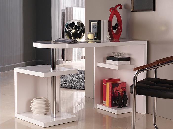 Mesa escritorio blanca con estantes for Estantes modernos