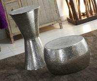 Puff de latón color plata - Puff de mlatón color plata