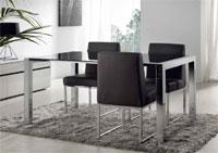 Mesa cristal extra blanco o negro, extensible con patas cromadas 140