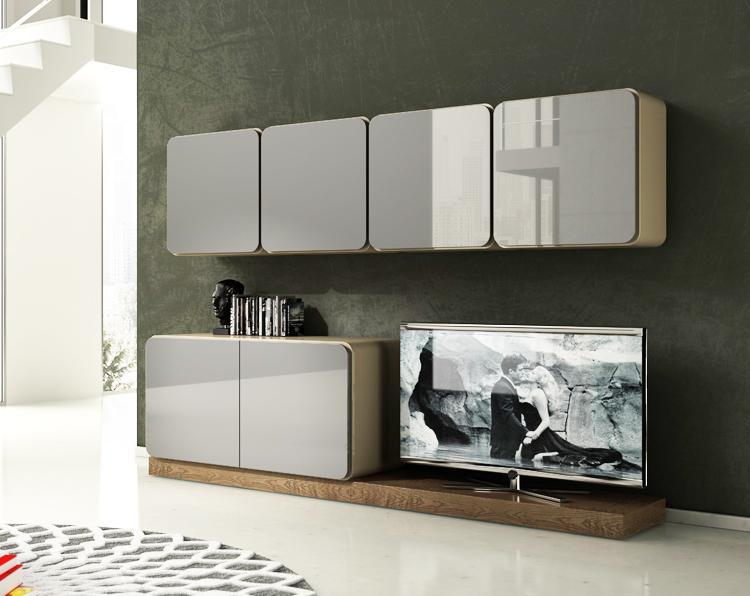 Salon modular barcelona moderno blanco lacado bordes curvos - Salon moderno blanco ...
