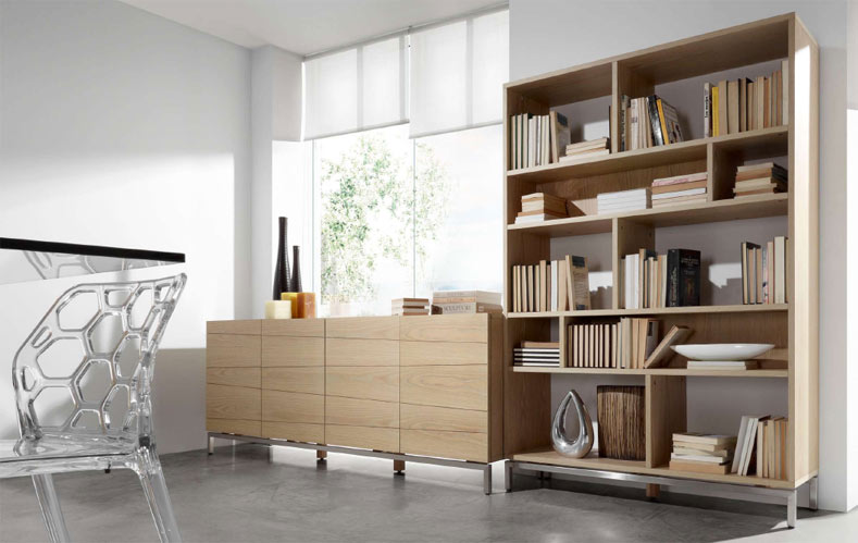 Estanter a madera natural oakland estanter as muebles for Muebles salon madera natural