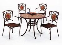 SET-SAN MARINO 90 mesa de mosaico redonda