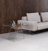 Mesa baja ALHAMBRA 60 - Mesa ALHAMBRA-60, baja, cristal, madera, 60x60 cms