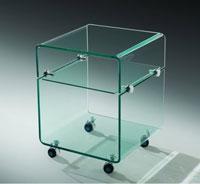 Mesa baja ARMSTRONG cristal  - Mesa ARMSTRONG-TR, baja, ruedas, cristal, 40x40 cms