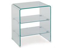Mesa baja CARTAGO-TR cristal  - Mesa CARTAGO-TR, cristal curvado, estantes, 50x40 cms
