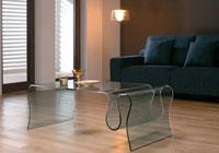 Mesa baja CONCERTO 120 cristal curvado - Mesa CONCERTO-R120, cristal curvado, 120x60 cms