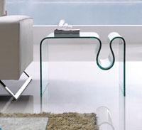 Mesa CONCERTO cristal curvado - Mesa CONCERTO-SM, cristal curvado, 60X50 cms