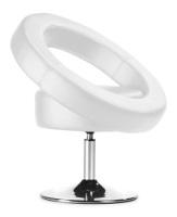 Sill�n giratorio de semipiel - Sill�n de dise�o, giratorio, base cromada, similpiel blanca. Otros colores disponibles