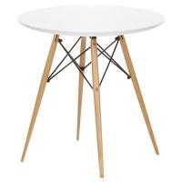 Mesa baja de sal�n redonda - Mesa de dise�o, base de madera, tapa lacada en blanco alto brillo.
