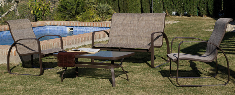 Set de muebles para exteriores modelo MELODY - Set para exteriores con estructura de aluminio modelo MELODY