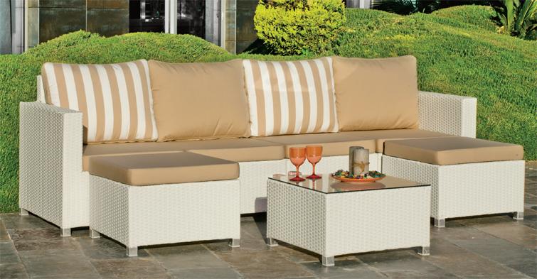 Juego muebles modular rattan jard n for Sofa modular jardin
