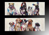 Set de cuadros de pared oleo gatos y perros 2