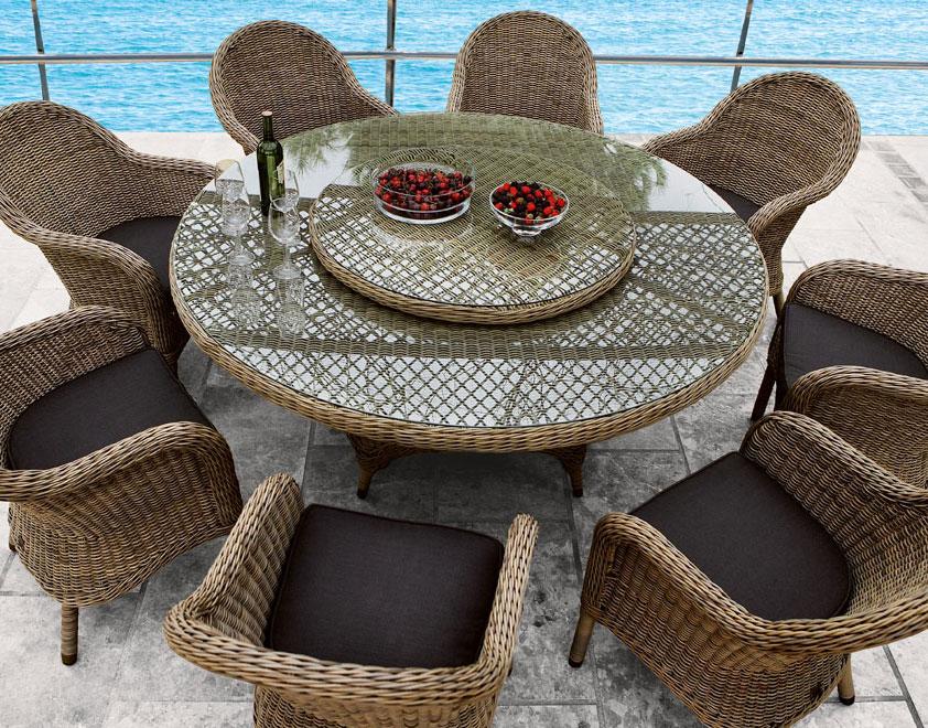 Set de jard n charlotte mesas de rat n sint tico y natural for Mesas y sillas para exterior