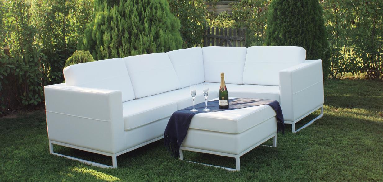 Sof esquinero blanco estilo ibiza for Sofa exterior aluminio blanco