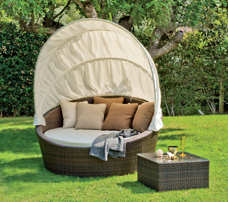 Tumbona cama exterior circular benidorm elche for Sofa exterior plegable