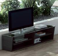 Mesa TV con tapa de cristal nogal y wengué - Disponible en 2 tamaños