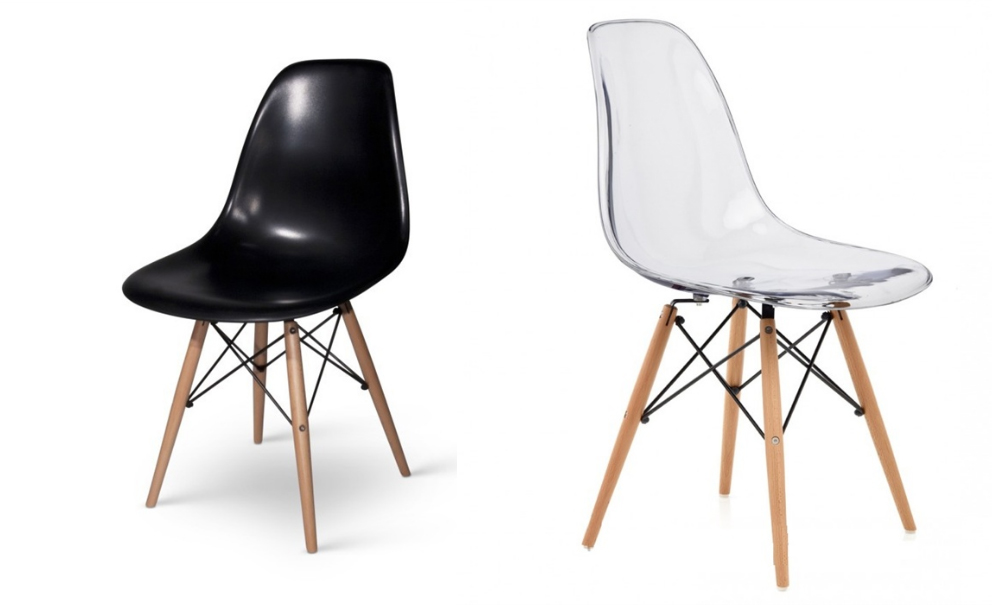 Silla blanca patas madera y asiento transparente for Sillas blancas con patas de madera