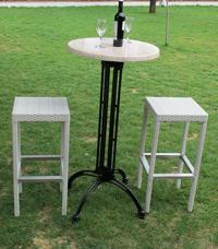 Mesa alta y taburete para exteriores Bilbo/Syria/Dessy - Juego de mesa alta y taburete para exteriores de rattan sint�tico