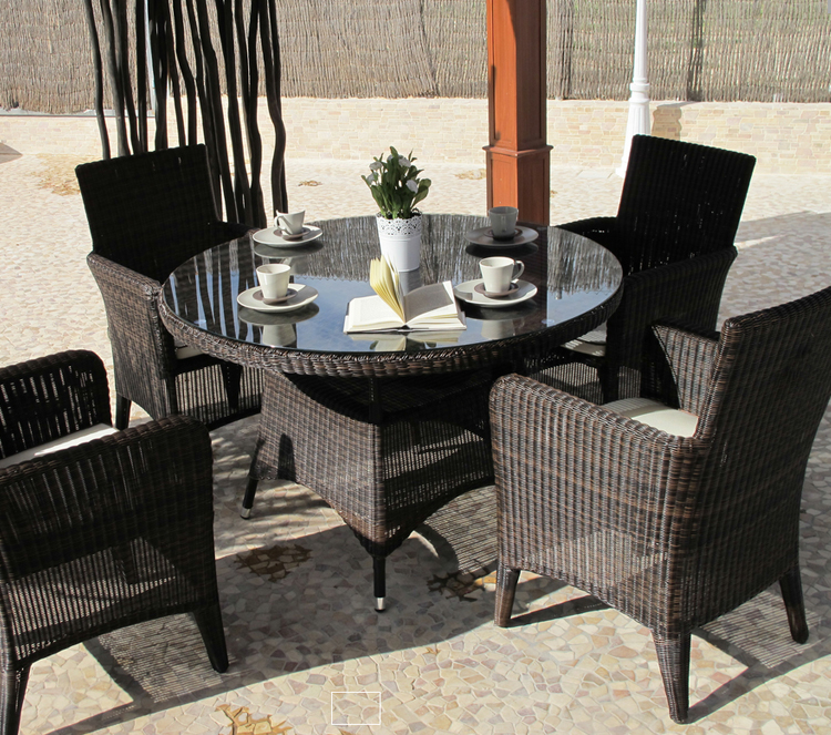 Juego comedor exteriores rattan sint tico estructura aluminio - Comedores exteriores para terrazas ...