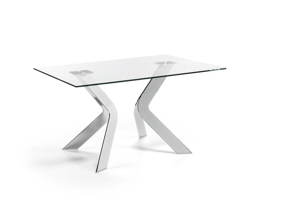 Mesa de dise o de cristal patas metalicas - Mesa cristal diseno ...