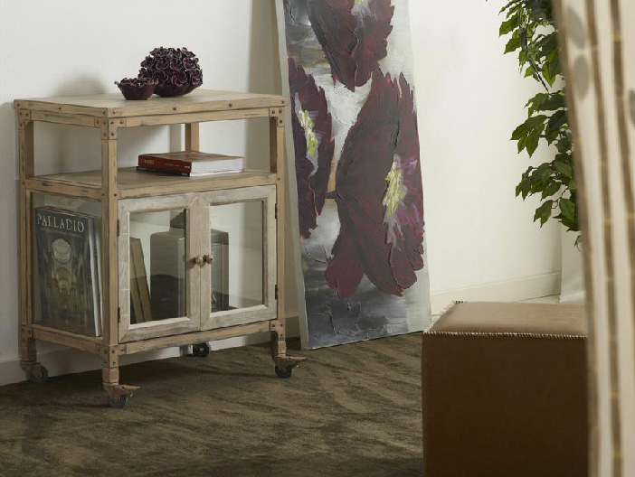 Mueble tipo industrial de entrada de cristal - Mueble de auxiliar vitrina industrial
