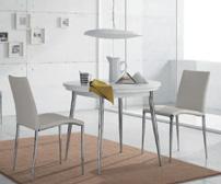 Comedor mesa redonda extensible y sillas estructura metal - Tablero mesa de melamina y sillas en ecopiel