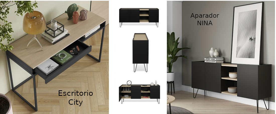 Aparador Tema Home modelo Nina y escritorio City