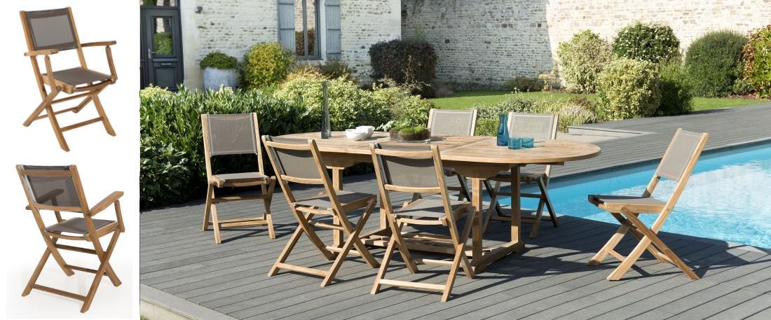 mesa de teca ovalada para exterior y sillones