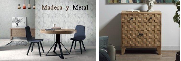 muebles de mader industrial y rústicos, madera y metal, mesa redonda extensible pata de metal