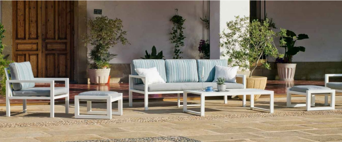 Set de sofás de aluminio blanco para exterior o jardín