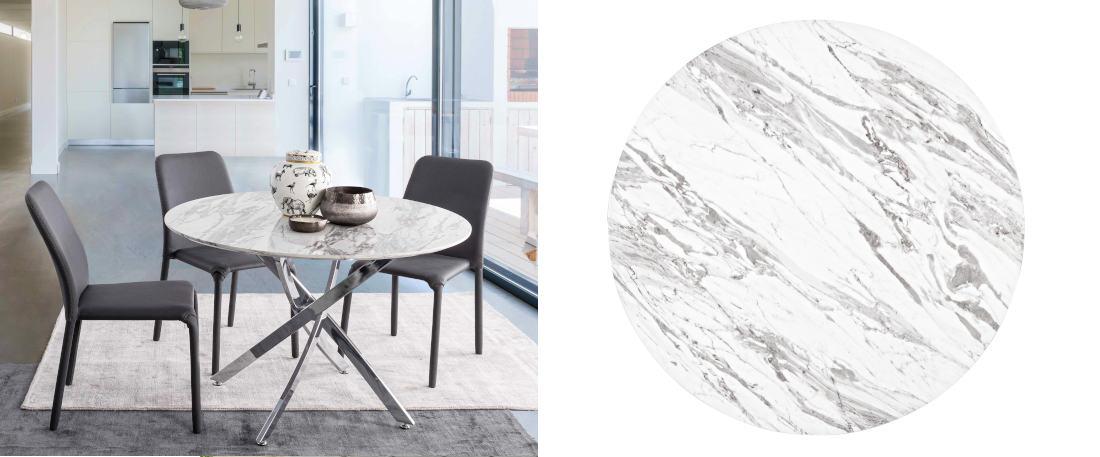 Mesa redonda de marmol blanco mes para officce