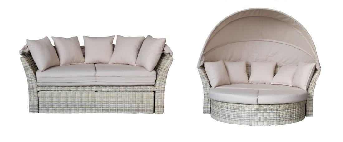 Sillón redondo y sofa de exterior modelo arizona