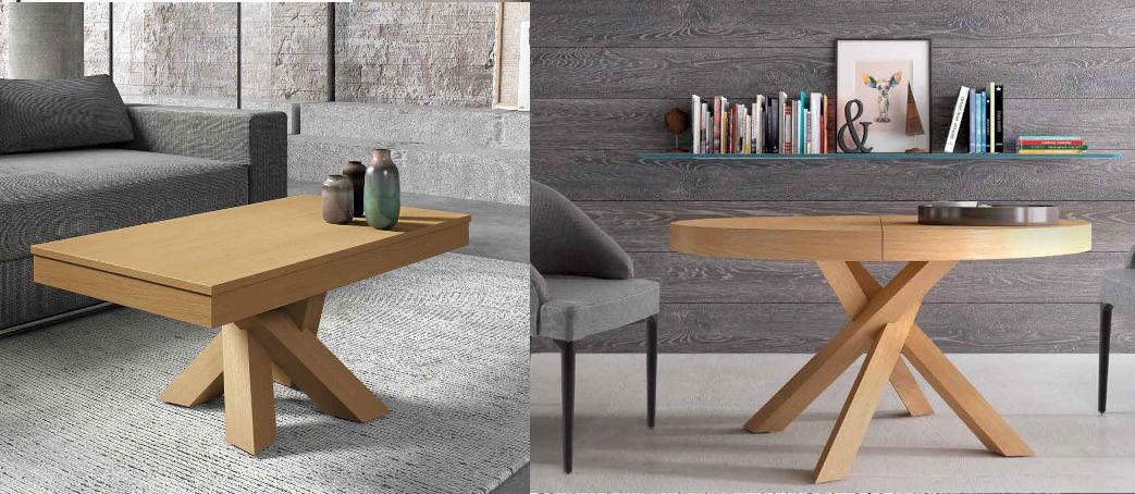 Mesa redonda extensible Zero y mesa de centro elevable Cross
