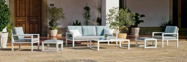 Set de sofás de aluminio para exterior modelo MANDALAY. Ideal para tu jardín o terraza.