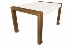 Mesa de comedor patas nogal y tapa blanca