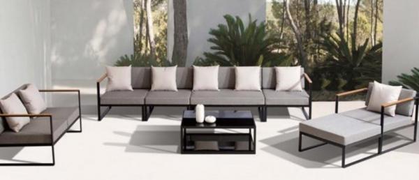 Set de exterior moderno color pizarra y gris