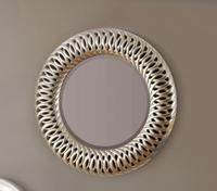 Espejo redondo moderno de poliresina - Marco hecho de poliresina.